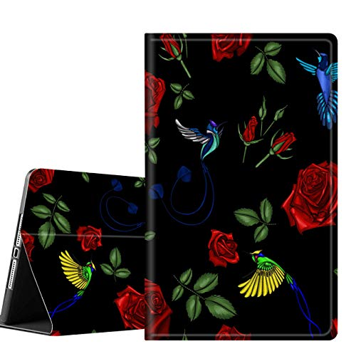 iPad 9.7 Case (2018/2017) 6th/5th Generation ipad Case Slim Folio Smart Stand Protective Cover with Auto Wake/Sleep for Apple iPad 6/5 Gen & ipad air 1/2 9.7 inch, Rose and Bird