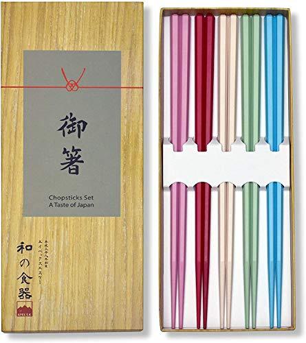Palillos japoneses reutilizables de fibra de vidrio ligero y duradero, juego de 5 pares, único y colorido en caja de regalo, duradero y apto para lavavajillas (5, fibra de vidrio (pastel))
