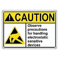 注意の印- ANSI の注意の手の静電敏感な装置は英国のテキストおよび記号の産業安全印の屋内および屋外の警告の印 12 x 16 インチの金属の錫の印 LMH21 と署名します。