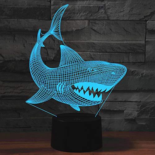 PONLCY Neuheit 3D Illusion Lampen LED Shark Nachtlichter USB 7 Farben Sensor Schreibtischlampe für Kinder Weihnachten Geburtstagsgeschenke Dekoration