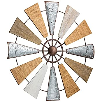 American Art Decor Wood and Metal Windmill Wall Art Farmhouse Wall Decor