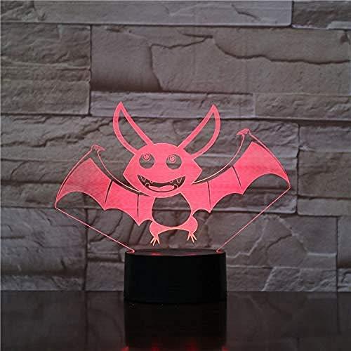 3D Luz nocturna para niños Lámpara De Ilusión murciélago Gift Darling In The Best Birthday Holiday Gifts For Children Con interfaz USB, cambio de color colorido