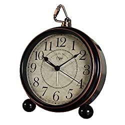 Maxspace Table Clock, 5.2 Retro Vintage Non-Ticking Desk Alarm Clock, Small Alarm Clock with Large Numerals and HD Glass, for Kids Seniors Indoor Decor (Black)