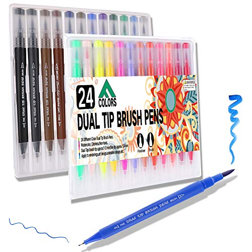 PUBU 24 Colors Dual Tip Brush Marker Pens - Colored Fine and Brush Tip Dual Pen Journal Pen Set for Lettering Writing Coloring Drawing (24-New P)