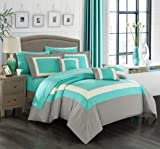 Chic Home Duke 10 Piece Comforter Set Complete Bed in a Bag Pieced Color Block Patterned Bedding with Sheet Set and Decorative Pillows Shams Included, King Turquoise