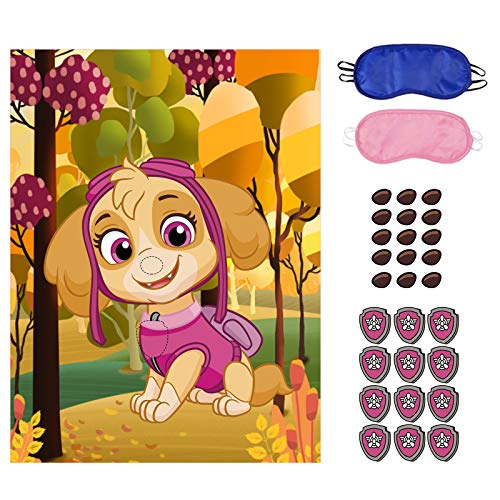 Paw Patrol Party Games, Pin The Chase's Tag on Paw Patrol, 36 PCS Nose Stickers for Boys Girls Paw Patrol Theme Party Birthday Gifts…