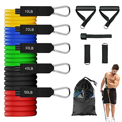 Resistance Bands Set 150 LBS Exercise Bands 100% Natural Latex Workout Bands with Handles Training Tubes with Door Anchor amp Ankle Straps for Resistance Training Physical Therapy Home Workout