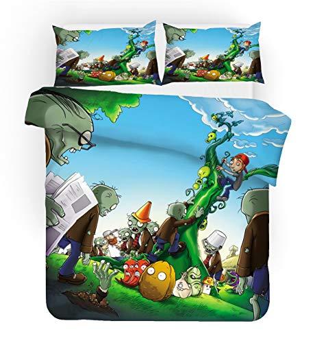 URLINENS Plants vs Zombies - Juego de funda de edredón y funda de almohada individual de 2 piezas, diseño de dibujos animados, juego de cama para niños, niñas, adolescentes, tela de microfibra suave