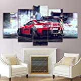PEJHQY 5 Panel Art Picture Red Sports Car Racing Canvas Pictures Poster e impresión Living Room Pictures Canvas,Cuadro en Lienzo Lanzarote