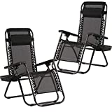 Zero Gravity Chairs Case of (2) Black Lounge Patio Chairs Outdoor Yard Beach with Cup Holders (Black)