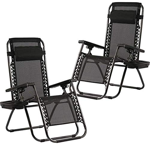 Zero Gravity Chair Patio Chairs Set of 2 Outdoor Chairs Folding Chairs Outdoor Anti Gravity Chair Lounge Reclining Camping Deck Chair with Pillow and Cup Holder