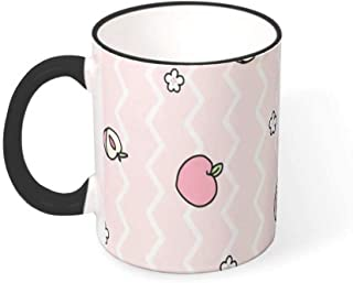 FUNcupshop Funny Porcelain Coffee Cups Fashion Lovely Pink Peach Stripes Geometry Artwork Print White Tea Cups Festive Cocoa Mugs Colleague Birthday Gift Mug/Cups