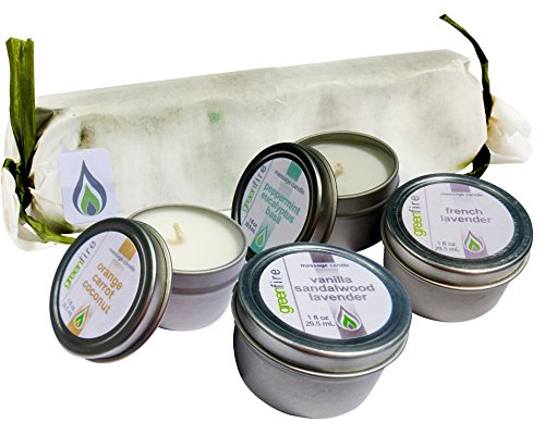Greenfire Gift Set All Natural Massage Oil Candles, French Lavender, Lavender Sandalwood Vanilla, and other blends, 1 fluid ounce candles by Greenfire Candles for Massage