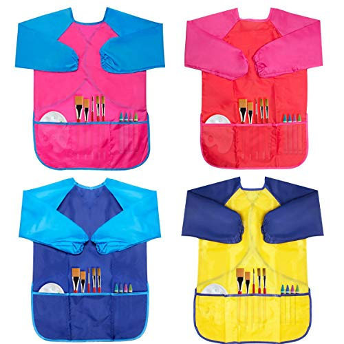 BAHABY Kids Art Smocks 4 Pack Painting Apron for Children Waterproof Artist Smock with Long Sleeve and 3 Pockets for Age 2-8 Years