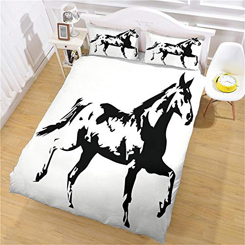 DJOIEPO Duvet Cover Set King Size 220X230cm Black horse Quilt Cover Ultra Soft Breathable with zipper closure Duvet set with 2 pillow cases 3 Pcs Bed set for adults kids