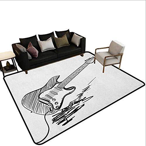 Vierkant tapijt Gitaar, Verschillende Elektrische Gitaar Silhouetten op Roze met Muziek en Vrede Tekenen, Lichtroze Maroon Bruin