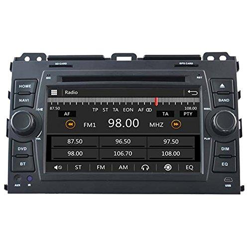 witson 7Zoll 2Din In-Dash Car DVD-Player für Toyota Prado 2002-2009Gps Navigation Radio Navi SAT Autoradio, mit SD/USB/iPod/iPhone/3G/Video/DVR, Rückfahrkamera, Bluetooth für Freisprecheinrichtung, Lenkrad-Steuerung
