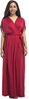 Women Plus Size V Neck Batwing Sleeve Casual Maxi Dress with Belt