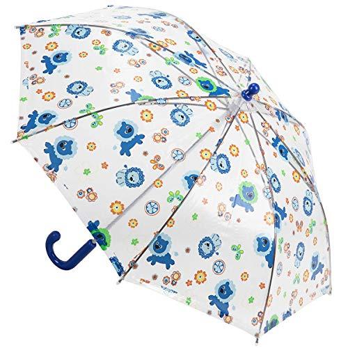 Derby Kids Sky Kinder Stockschirm transparenter Kinderschirm durchsichtiger Regenschirm 72654, Farbe:Dunkelblau