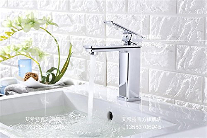 MangeooDer quadratische Einloch Waschtisch Armatur Waschbecken schwarz wei heien Hahn, Chrom