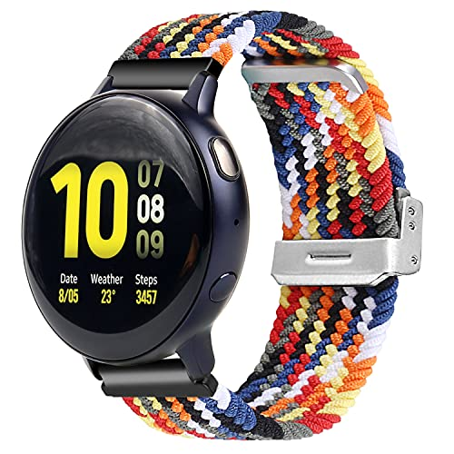 Idealiveny 20mm Band Compatible with Samsung Watch 3 Bands 41mm and Samsung Galaxy Watch Active 2 40mm 42mm Braided Solo Loop for Samsung Gear S2 Classic Bands Adjustable Elastic Strap 20mm Wristband(Colorful Rainbow)