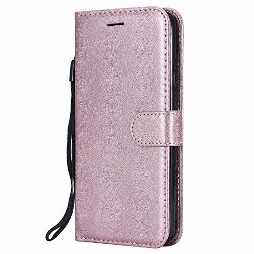 Yiizy handyhülle für Huawei Honor View 10 Ledertasche, Fashion Stil Lederhülle Brieftasche Schutzhülle für Huawei Honor View 10 hülle Silikon Cover mit Magnetverschluss Kartenfächer (Roségold)