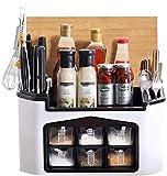 EliveSpm Gewürzregal für Küche Kitchen Spice Rack Organizer Gewürzregal mit 2 Etagen für 6 Spice Jars, Besteck Messer Chopping Board Holder für die Küche (15 * 9.2 * 7.5in)