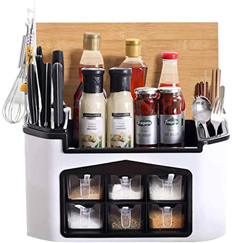 Spice Rack Organizer Countertop - Kitchen Seasoning Storage Cabinet Shelf For Spice Jars Sauce Condiment Pantry,Cutlery Knife Chopping Board Kitchenware Overall Holder Counter Organizer