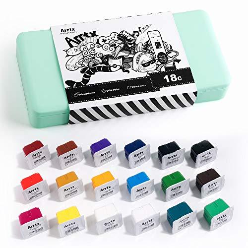 Arrtx Gouache MalSet, 18 Farben × 30 ml Jelly Cup Design, tragbare Box mit Einer Palette, Ideal für Design, Graffiti, Porträtmalerei(Asagi)