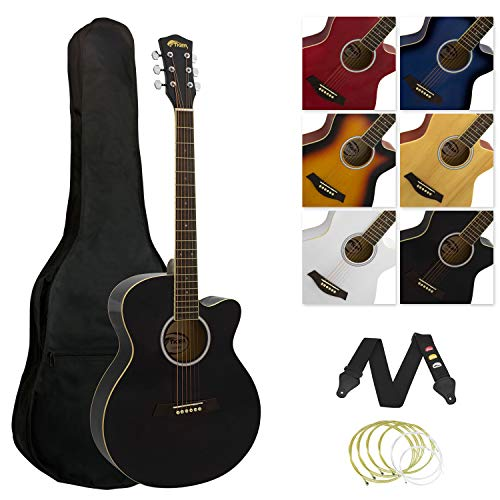 Tiger ACG3 Full Size Acoustic Guitar Package – Beginners Guitar Pack with Gig Bag, Strap and Spare Strings – Black