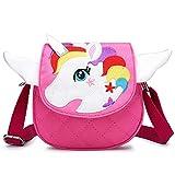 BETOY Carino Unicorno Crossbody borsa a tracolla portafoglio borsa chiusura a cerniera per ragazze adolescenti Donne(Rosa)