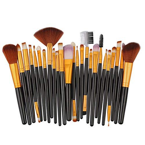 HANHOU Fond De Teint Cosmétique Synthétique Premium Blushing Blush Correcteurs Poudre Kabuki 25 Pcs Kit De Brosse De Maquillage Professionnel,8-OneSize