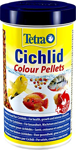 Tetra Cichlid Colour Pellets (Hauptfutter für die besonderen Ernährungsbedürfnisse von alles- und fleischfressenden Cichliden), 500 ml Dose