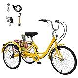GNEGNIS Bicicleta de 24 Pulgadas Triciclo para Adultos, Bicicleta de 3 Ruedas con Asiento de Respaldo de Cesta Grande, Adecuado para Mujeres y Hombres - Amarillo