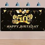 HOWAF 50. Geburtstag Party Dekorationen Schwarz und Gold,
