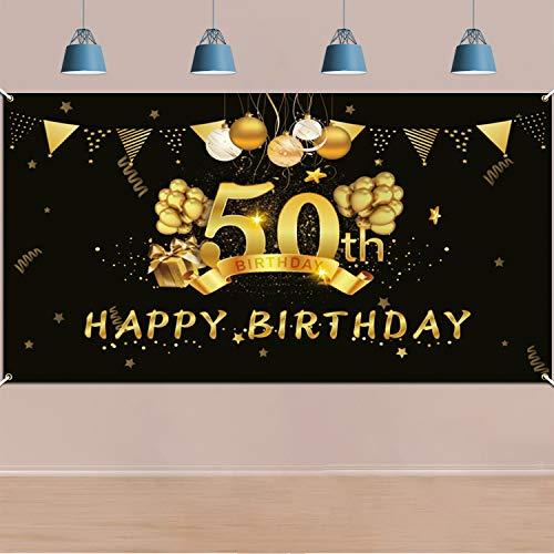 Extra Große 50. Geburtstag Banner für Frauen Mann 50 Jahre Geburtstag Dekorationen Schwarz Gold, 50. Geburtstag Stoff Zeichen Plakat Photo Booth Hintergrund für 50. Geburtstagsdeko, 5,9 * 3,9 Füße