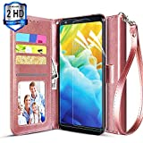 ADroid for LG Stylo 5 case,LG Stylo 5V/LG stylo 5 plus/LG Stylo 5X/LG Stylo 5 + Case,Luxury PU Leather Wallet Case W Kickstand Card Holder ID Slot Hand Strap Shockproof Cover for LG Stylo 5,Rose Gold