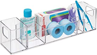 mDesign Plastic Storage Organizer Bin with Handles - Divided Organizer for Vitamins, Supplements, Serums, Essential Oils, Medicine Pill Bottles, Adhesive Bandages, First Aid Supplies - Clear