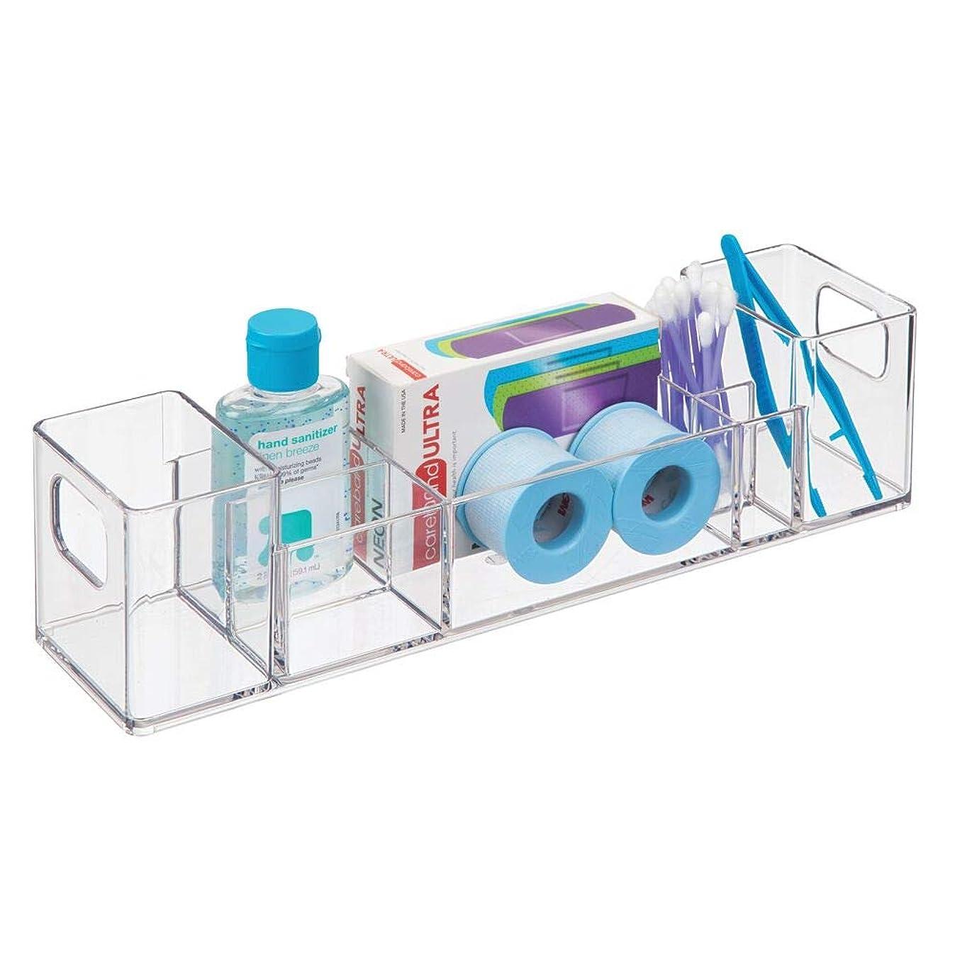 mDesign Slim Plastic Bathroom Vanity, Countertop, Cabinet Storage Organizer with Handles - Holds Vitamins, Medical Supplies, First-Aid, Makeup - 12