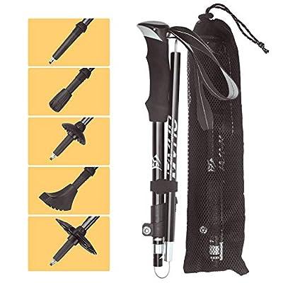 VVHU Walking Sticks -2 Pack Trekking Poles -7075 Aluminum,Collapsible,Adjustable,Quick Locks,Lightweight, Antishock for Men or Women to Trekking,Hiking,Camping, Mountaineering -3 Colors Options(Black)