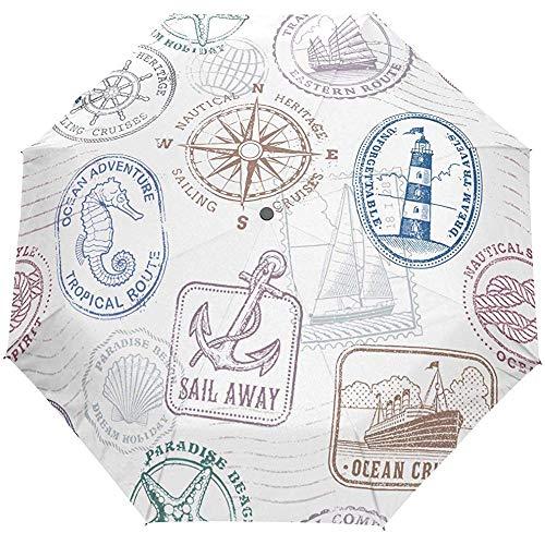 Oceano Ancora di ancoraggio Faro Tartaruga Cavalluccio marino Cavalluccio marino Auto Ombrello aperto Ombrellone per pioggia Anti UV pieghevole Ombrello automatico compatto
