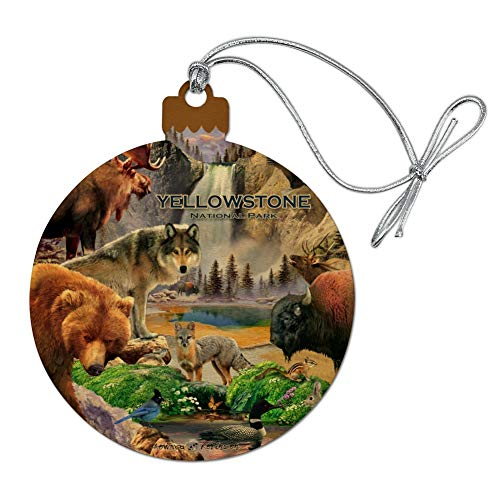 GRAPHICS & MORE Yellowstone National Park Wyoming Montana Idaho Animals Wolf Bear Fox Bison Wood Christmas Tree Holiday Ornament
