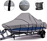 Zuihao 800D Heavy Duty Center Console Boat Cover, 2021 Upgraded Trailerable Boat Center Console Cover with 17 PCS Windproof Straps, Storage Bag