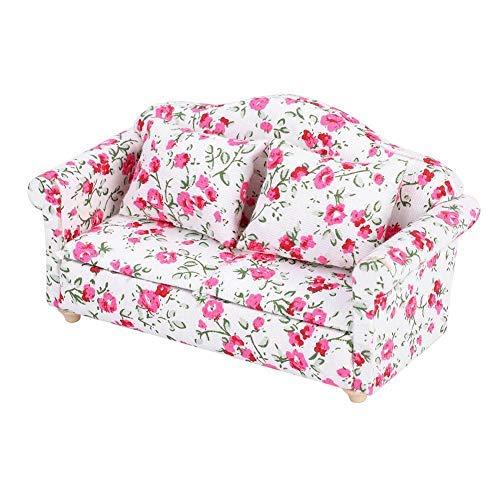 Mini Puppenhaus Sofa 1/12 Skala Puppenhaus Möbel Couch Blumenmuster Mini Möbel Sofa Set mit Rückenkissen(#2)