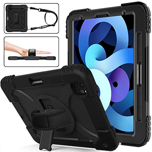 TIRIN New iPad Air 4 Case 2020, iPad Air 4th Generation Case, iPad 10.9 Case with Pencil Holder, 360 Rotating Stand Strap Heavy Duty Rugged Drop Protection Case for iPad Pro 11 inch 2020&2018, Black