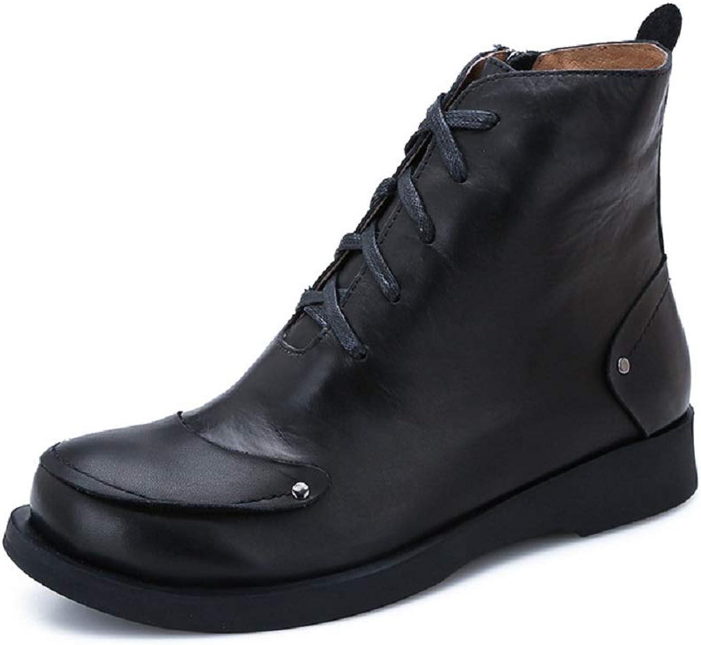 LingGT Knight stövlar kvinnor läder Zipper Flat Martin skor (färg  svart, storlek  CA 5)