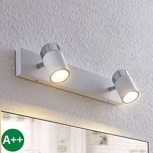 Lindby Strahler 'Kardo' dimmbar (Modern) in Weiß aus Metall u.a. für Badezimmer (2 flammig, GU10, A++) - Deckenlampe, Deckenleuchte, Lampe, Spot, Badezimmerleuchte
