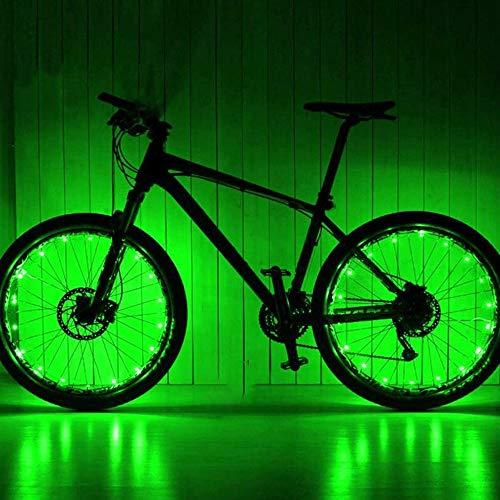 XIAOHUA-UK Rotella Accessori Luce, Mountain Bike Hot Wheels Spoke luci USB Ricaricabile Luce della Bicicletta luci di Coda (Color : Green)
