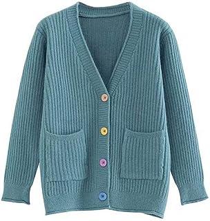 Suéter de Las Rebecas de Las Mujeres con Cuello en V sólidos Ocasionales Flojas Capa de la Chaqueta de Punto de la Rebeca ...