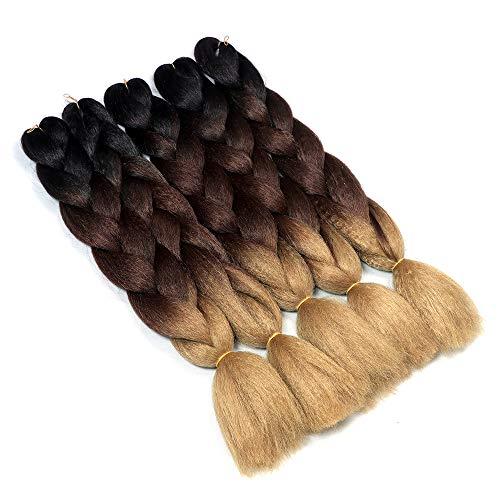 YMHPRIDE Cabello trenzado jumbo de 3 tonos a la moda 3 tonos de 24 pulgadas Cabello trenzado xpression (negro, marrón y marrón claro)